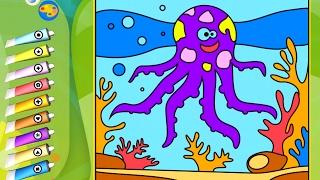 Раскраска - Игра. Морские животные. Развивающее приложение