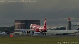 [Strong crosswind landing!!] AirAsia Japan (WAJ) JA02AJ @ Narita RWY34L [April 7, 2013]