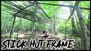Building A Natural Stick Hut Shelter Frame: Notching, Cordage, Partial Roof