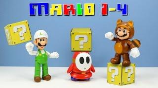 World of Nintendo Super Mario Series 1-4 Tanooki Mario Fire Luigi & Shy Guy