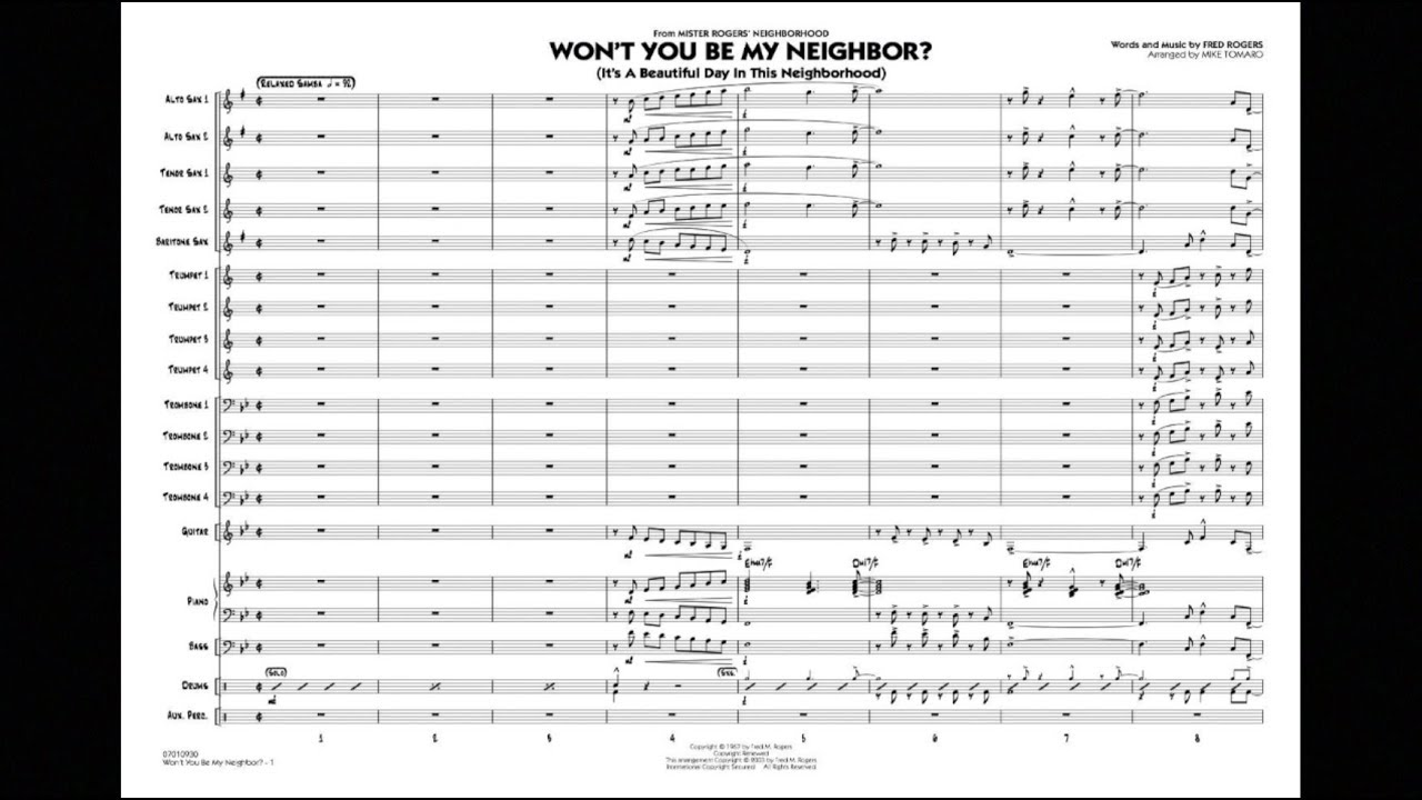 Won T You Be My Neighbor By Fred Rogers Arr Mike Tomaro Youtube