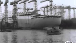 RMS Braemer Castle takes the water - launch - Union Castle Line - footage