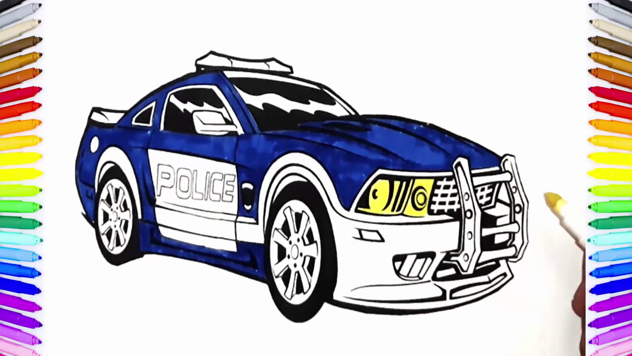 Police Car Fire Truck Coloring Book Fun Painting Learning Colors How To Paint Cars Video For Kids