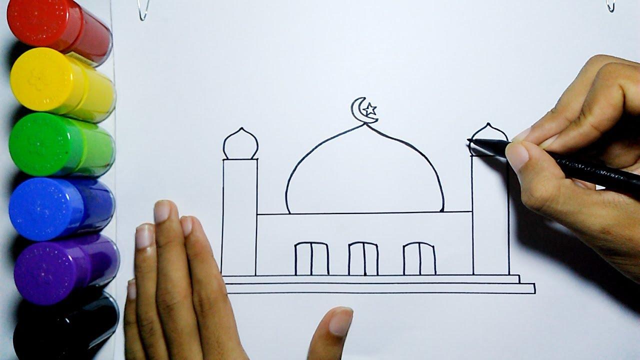 Cara Menggambar Masjid Mudah Untuk Pemula How To Draw Mosque