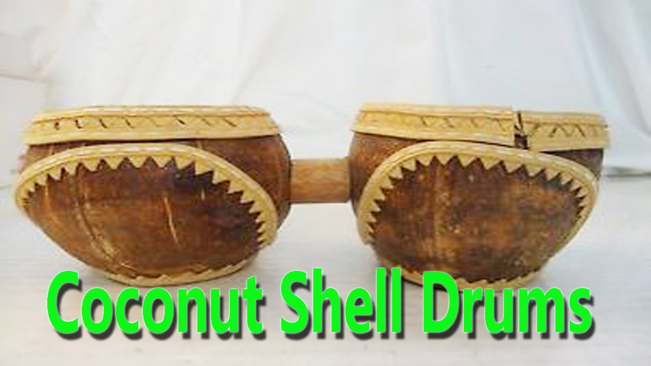 Hand made coconut shell drums best from waste material for Handmade things from waste material for kids step by step