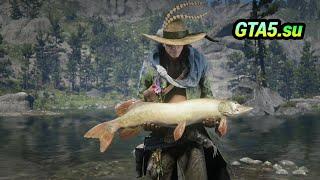 Рыбалка на озере Поймал огромную рыбу Red Dead Online