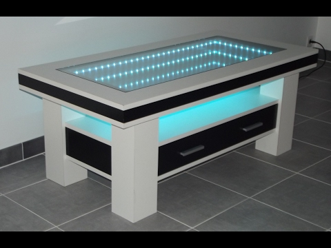 table basse design led miroir infini