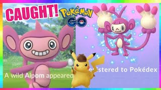 SHINY AIPOM CAUGHT during DETECTIVE PIKACHU EVENT in Pokemon Go! ( 438 CHECKS )