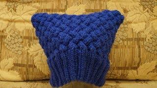 Вязание шапки спицами | узор плетенка 3 × 3