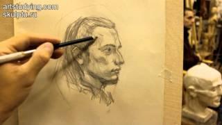 Обучение рисунку. Портрет. 8 серия: пример короткого рисунка портрета