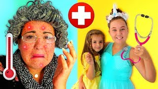 Ruby & Bonnie Help Sick Granny! Kids Pretend Play Learning how to be a doctor video