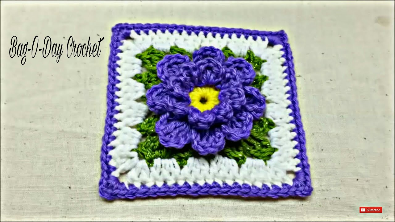 Crochet Stitches Granny Square Youtube : ... to Crochet Flower Granny Square #TUTORIAL #171 LEARN CROCHET - YouTube