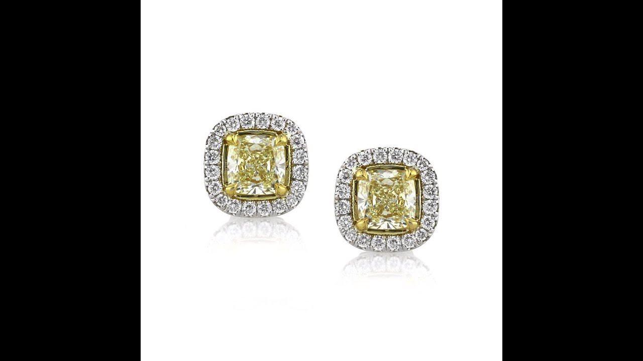 radiant if yellow cut p platinum diamond carat canary earrings htm fy