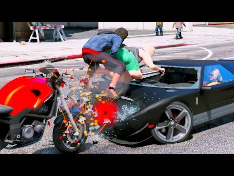 GTA 5 Crazy & Deadly Motorcycle Crashes - GTA V Ragdolls Compilation (Euphoria physics)