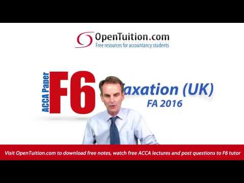 ACCA F6 Introduction to Taxation UK Exam FA2016 - June 2017-March 2018 Exam