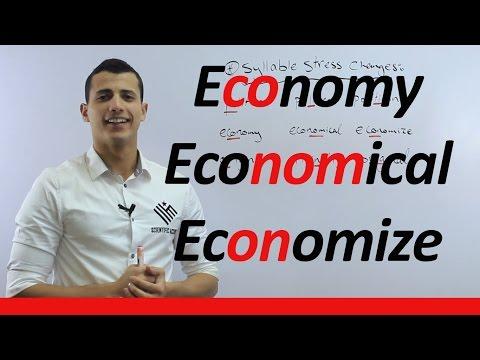 Syllable stress changes, economy VS economical VS economize