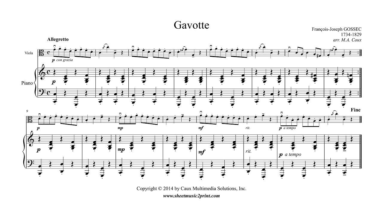 Gossec : Gavotte in C Major - Viola - YouTube