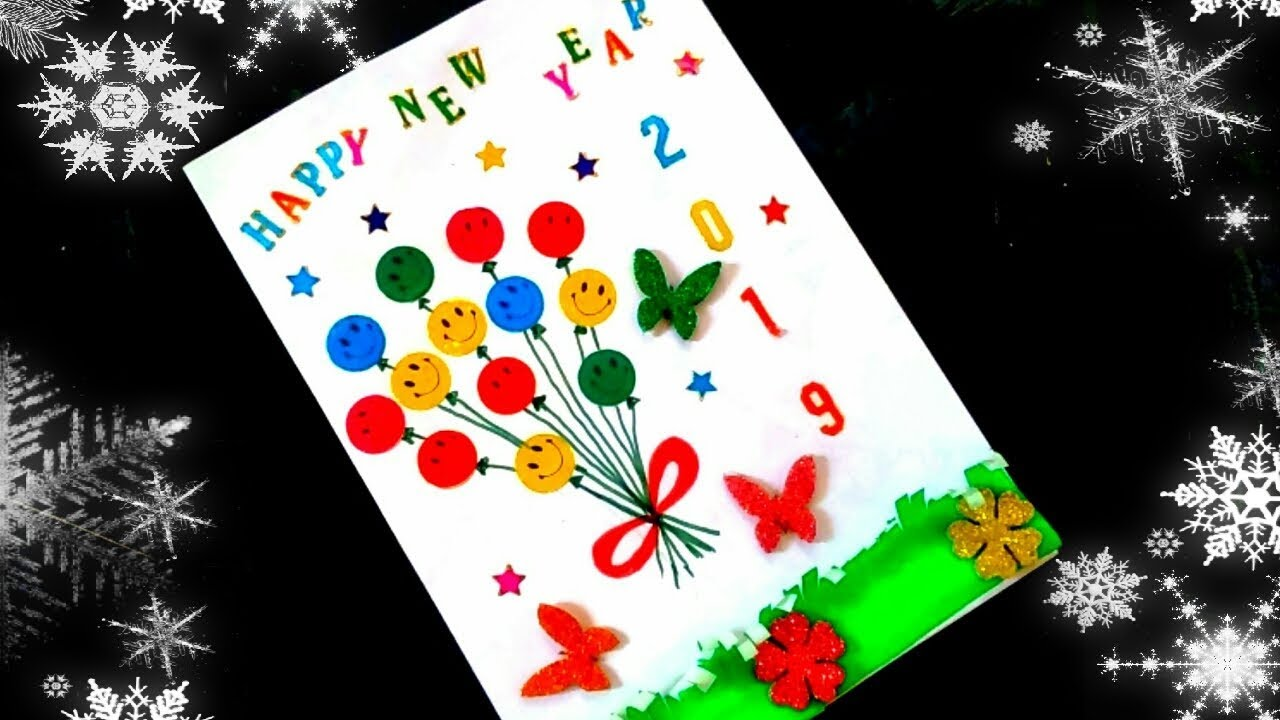 Happy new year card for kids|How to make happy new year ...