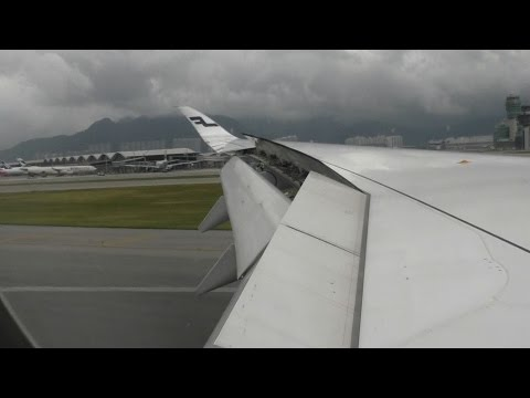 A350 Descent and Landing after Typhoon into Hong Kong Airport Full Flight