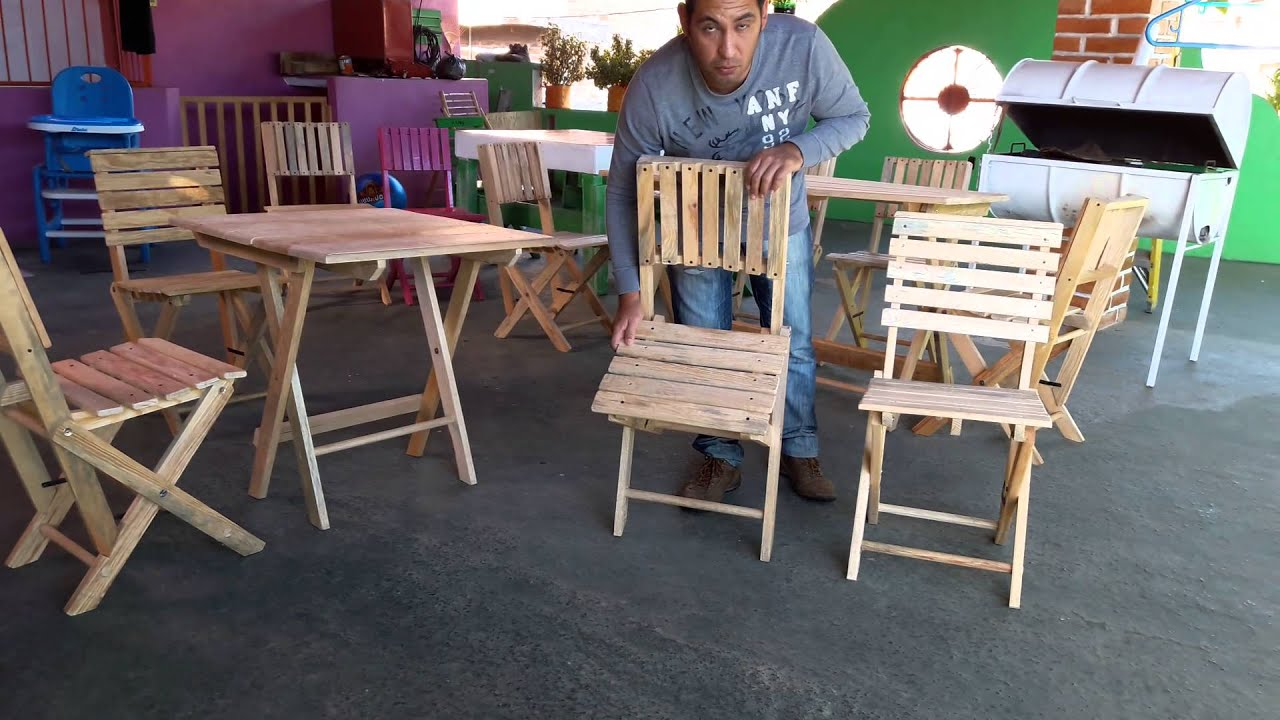 Mesa de madera plegable para 4 sillas youtube - Sillas de madera plegables carrefour ...