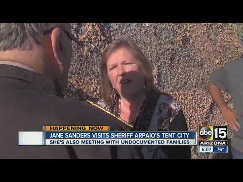 Jane Sanders visits Sheriff Arpaio's Tent City
