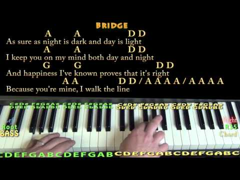 I Walk the Line (JOHNNY CASH)  Piano Cover Lesson with Lyrics/Chords