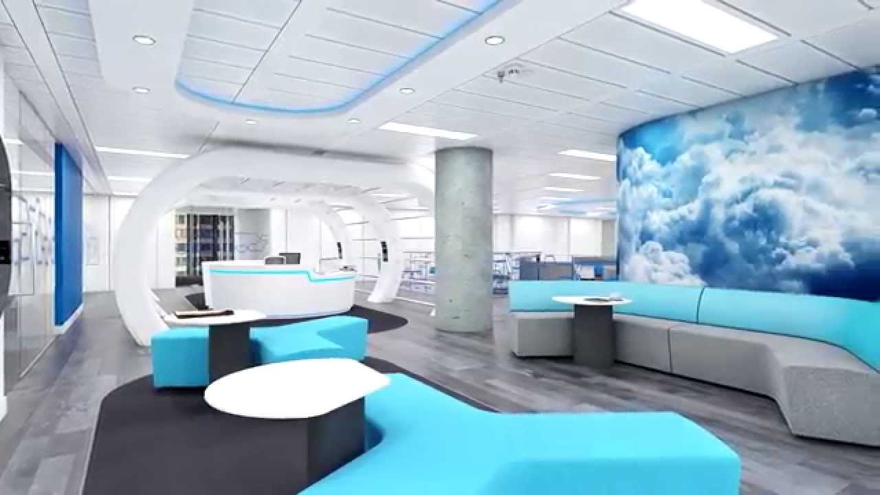 Tech company office design flythrough youtube for Office design companies