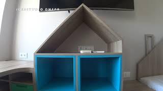 Детская из дсп с элементами мдф крашеного / Шкафы в виде Домиков / Письменный стол / IDEASTUDIO