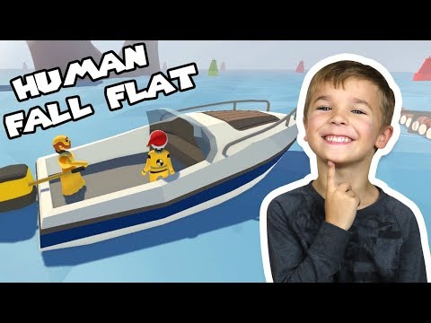 TWO LITTLE HUMANS DRIVING BOATS   HUMAN FALL FLAT MULTIPLAYER
