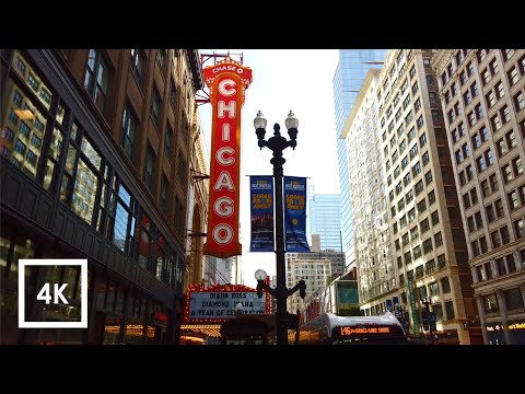 Binaural 3D City Sounds Downtown Chicago, Walking Tour Chicago City Ambience Sounds) 4K