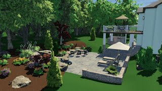 Total Pool + Patio - Koi Pond - 3D Rendering