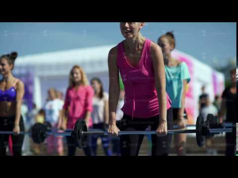 Russia, Novosibirsk, 2016: Women raise the bar. barbell exercises