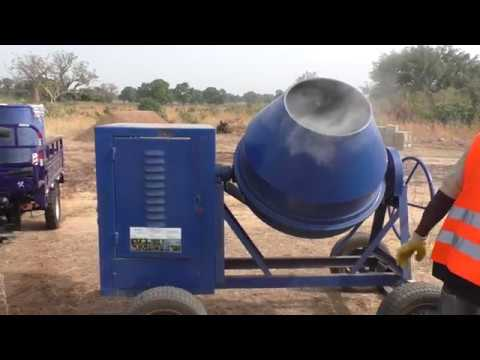 My factory new concrete mixer in ghana, first engine start