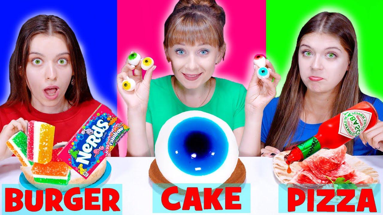ASMR Cake VS Burger VS Pizza Food Chalenge By LiLiBu