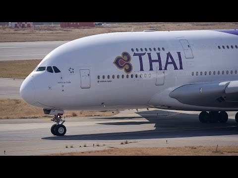 Thai Airways International Airbus A380 HS-TUB Takeoff from KIX 24L