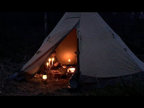 Bushcraft Base Camp - Wood Stove Cooking - Canvas Hot Tent Overnighter