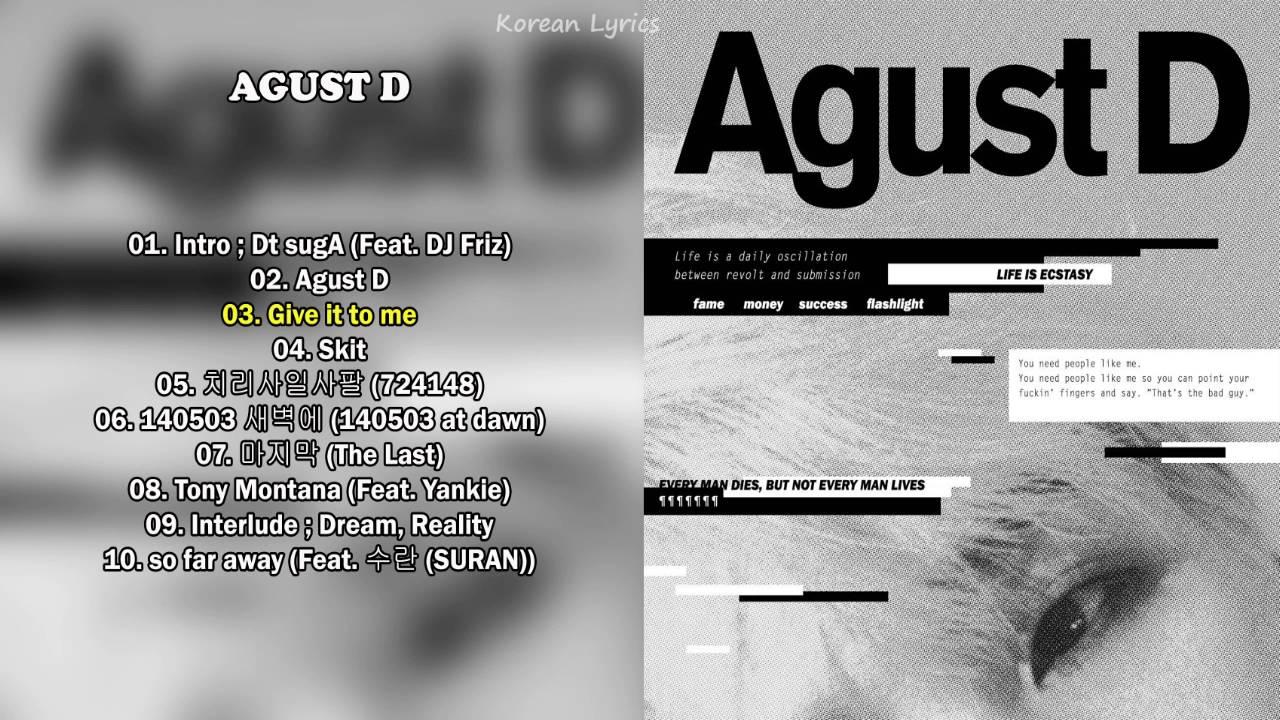 Agust D Suga 1st Mixtape Full Album Youtube