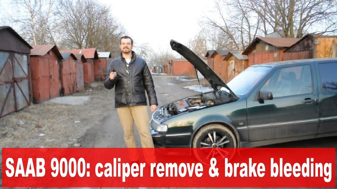 [w/eng sub] SAAB 9000: rear caliper removing. How to bleed brakes