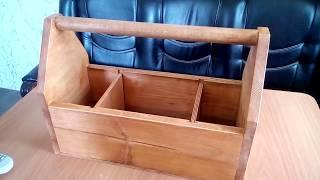 Столярный ящик из дерева для инструментов. Обзор для заказчика.