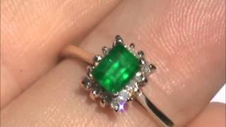 14K GEM QUALITY MUZO MINE COLOMBIA EMERALD DIAMOND RING NO RESERVE !!!