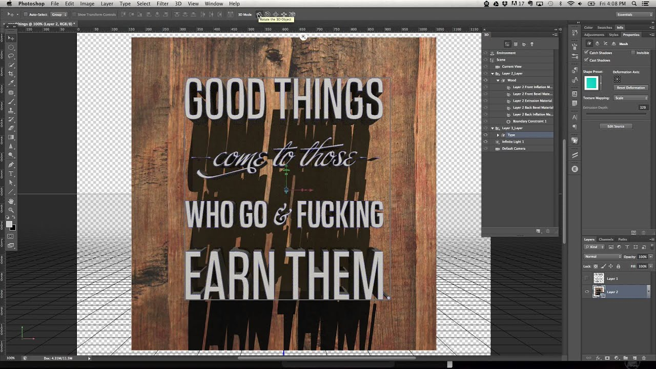 Tutorial making a 3d typographic poster in photoshop cs6 extended tutorial making a 3d typographic poster in photoshop cs6 extended youtube baditri Gallery