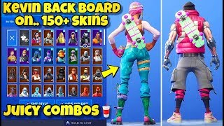 "NEW KEVIN ""BACK BOARD"" BACK BLING Showcased With 150+ SKINS! Fortnite BR - KEVIN BACK BOARD COMBOS"