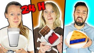 24 Stunden die FARBE ESSEN DIE MAN TRÄGT Challenge - Kathi, Nina & Kaan essen 1 Tag nur Süßigkeiten