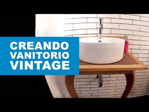 ¿Cómo hacer un vanitorio vintage para el baño?