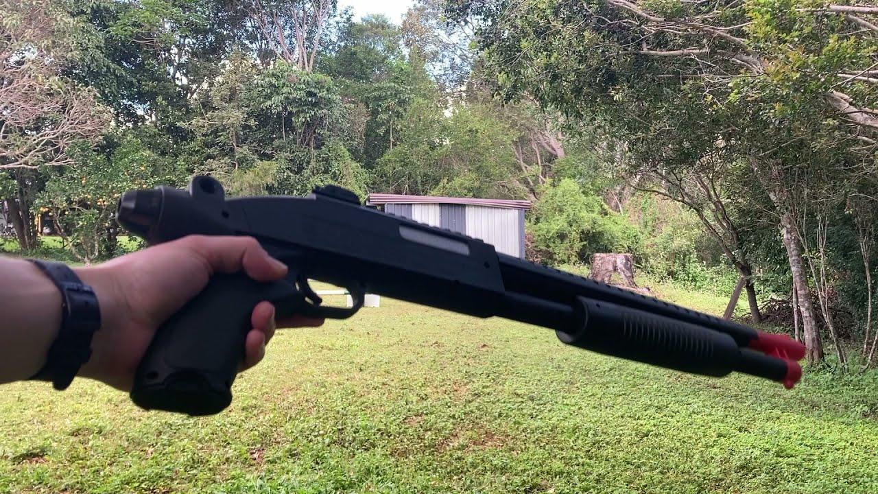 Toy M97 Shotgun Gel Blaster range test