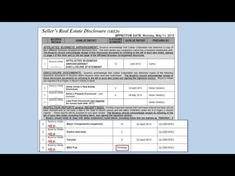 Sales Document Execution Tutorial | Seller's Real Estate Disclosure (SRED)