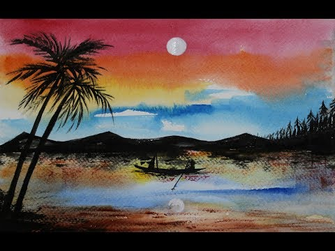 How To Paint Simple Sunset Landscape In Watercolors-Step-By-Step