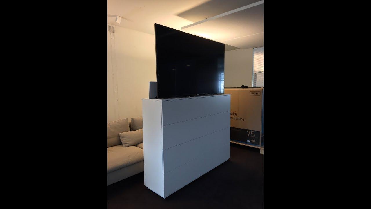 realisation elegance et technologie meuble lift elevateur pour ecran de 65 pouces