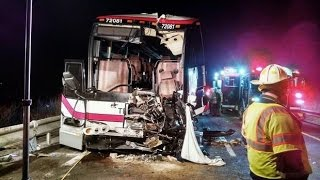 Pine Hill Trailways bus accident with Car and Kohl's tractor trailer on Rt 81 Nov  6, 2014