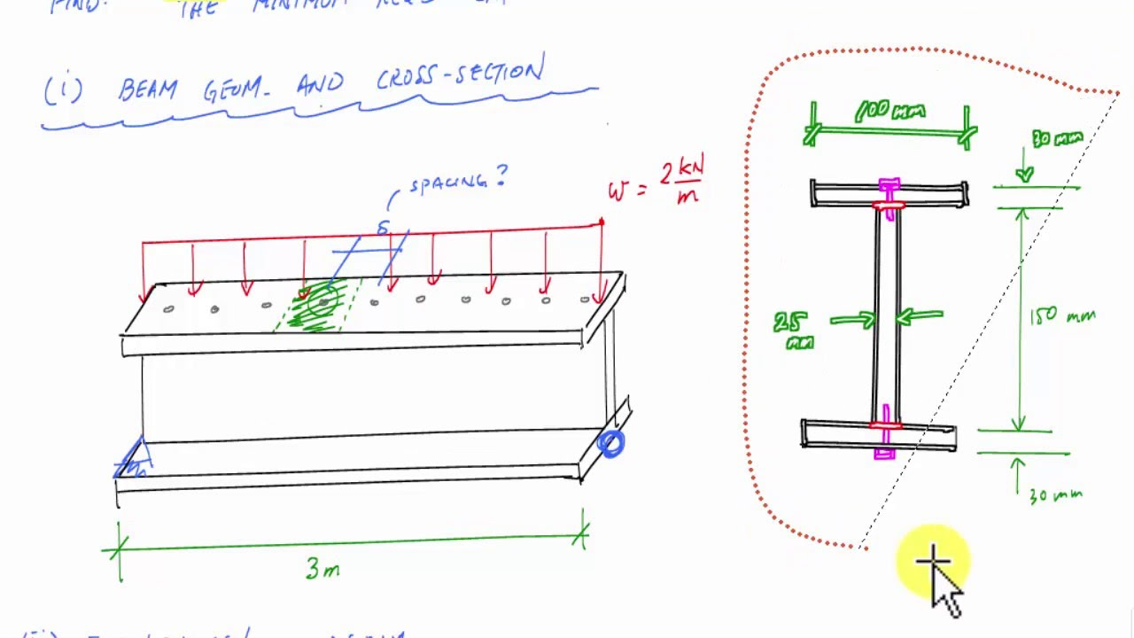 Shear Flow Example Calculate Connector Spacing Mechanics Of Bending Moment Diagram Uniformly Distributed Load Materials Youtube